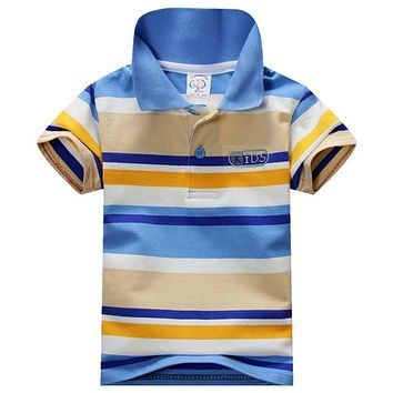 Summer Lovely Baby Boys Short Sleeve T Shirt Kids Tops Striped Polo Shirt Tops
