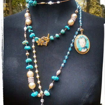 Stunning Turquoise Assemblage Necklace made with repurposed Rosary glass pearls and Rondelles.
