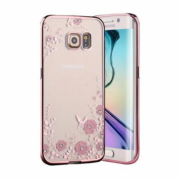 New Luxury Plating Secret Garden Flowers Rhinestone back Cover Phone Cases For Samsung Galaxy S3 S4 S5 S6 S7 EDGE NOTE 3 4 5
