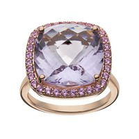Amethyst & Lab-Created Pink Sapphire 10k Rose Gold Over Silver Square Halo Ring
