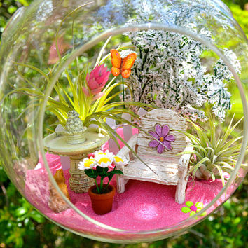 "Spring Garden Terrarium Kit ~ 7"" Air Plant Terrarium Kit ~ Daisy Chair ~ Fountain ~ Flowers ~ Butterfly ~ Gift for Mom ~ Mother's Day Gift"