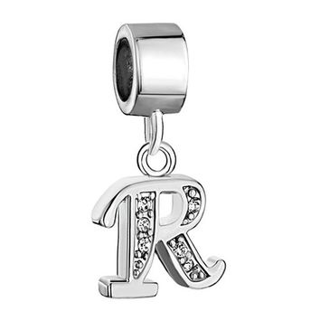 Nocary Clear Crystal Alphabet R Initial Charms Compatible with Pandora Bracelet