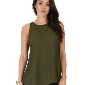 Lyss Loo At First Crush Sleeveless Olive Top With Keyhole Back