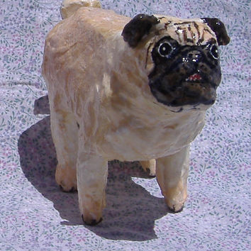 Pug Dog- Paper Mache Amimal Sculpture