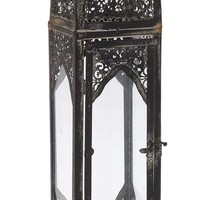"Old World Charm & Vintage 7"" W 27"" H Metal Glass Lantern in Black"