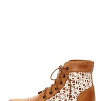 Steve Madden Thundr-C Cognac Multi Crocheted Lace-Up Ankle Boots