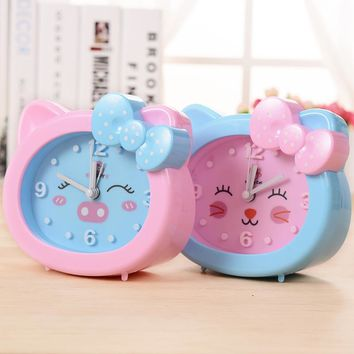 2017 Children Alarm Clock Cartoon Cat Silent Clocks Watch Time Stand Cat Clocks Home Decoration Mute Electronic Desk Clock