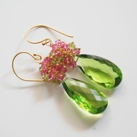 Gemstone Peridot Dangle Earrings -.. on Luulla