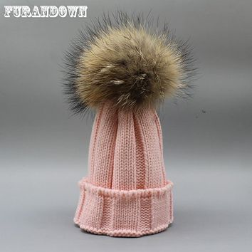 Winter Kids Fur Pom pom Hats Baby Knitted Beanie 100% Real Raccoon Fur Cap For Boys Girls