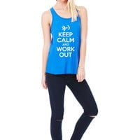 Keep Calm and Work Out Camp Boot Beast Mode Workout Burnout Training gym fitness sweat T-Shirt Tee Shirt Tank top Ladies Womens DT-202