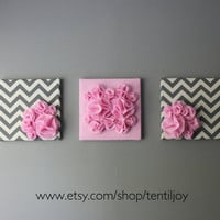 Three Wall Art Canvases Pink and Gray Chevron Nursery by tentiljoy