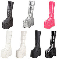 DEMONIA Men's Platform Goth Knee Boots STACK-301 301G