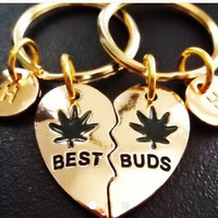 Sale......Gold Best Buds, Best friends, BFF,  (2pcs) keyring, keychain, bag charm, purse charm, monogram personalized item No.872