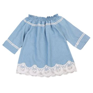 Infant Baby Girls Lace Off Shoulder Denim Dress Kids Party Princess Lovely Casual Brief Children Enfant Girl Dresses Set Soft