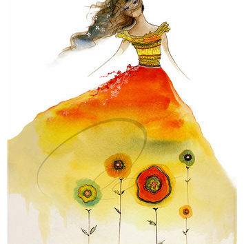Aphrodite Rising - Art Print girl's room youth fashion sketch dress design teenager girl flowers red watercolor painting pink Oladesign 8x10