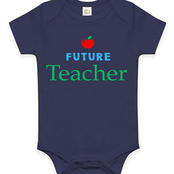 Cute Future Teacher Baby Clothes Infant Bodysuit Jumper Baby Shower Gift idea Funny New Mom Christmas Pregnant Gift for teacher mom or dad