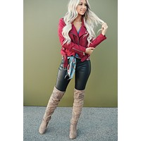 Bad And Beautiful Faux Suede Moto Jacket (Wine)