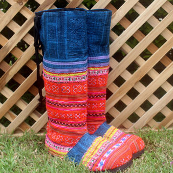 Vegan Womens Moccasin Boots Hmong Tangerine Embroidery Lace up Back