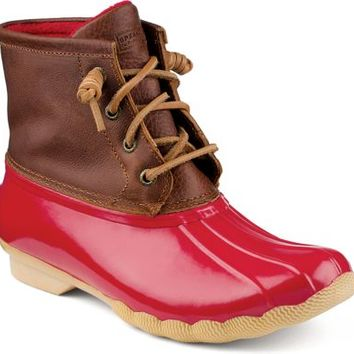Sperry Top-Sider Saltwater Duck Boot Cognac/Red, Size 6M  Women's Shoes
