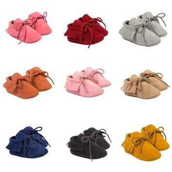 0-18M Baby Boys Girls Crib Shoes Tassel Infant Toddler Shoes Moccasin Prewalkers