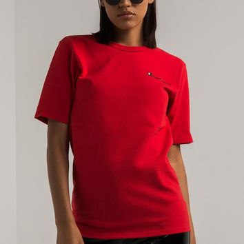 Champion Women's Heritage Tee With Small Side Logo in White, Black, Khaki, Team Red Scarlet, Dungaree Blue, Navy, Team Maroon