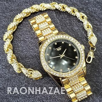 Raonhazae Hip Hop Iced Lab Diamond Black Face Drake 14K Gold Plated Watch with Rope Bracelet Set - GTR001