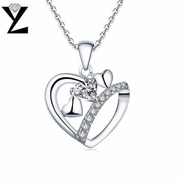YL Heart 925 Sterling Silver Necklaces Topaz Natural Stone Pendants Best Gift for Women Fine Jewelry Mother's Day Gift