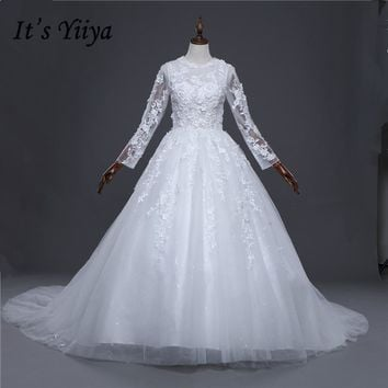 Muslim Flull Sleeves A-line Lace Trailing Wedding Frocks White Quality Train Wedding Dresses Bride Gowns Vestidos De Novia IY033