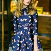 Navy Lapel Half Sleeves Birds Print Belt Dress