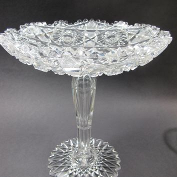 American Brilliant Period Cut Glass compote tear drop stem