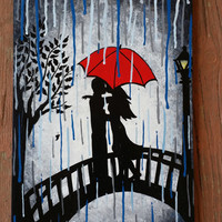 Silhouette Painting of Couple in the rain, Handpainted art, Home decor, Couples gifts, Rainy day silhouette, Wood wall decor, Handmade art