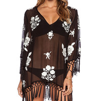 bohemian BONES Arizona Floral Mojave Mumu in Black & White