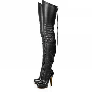 Women Stretch PU Leather Over The Knee High Sexy High Heels Boots