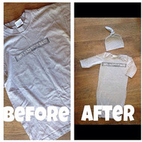 Create your own baby gown from YOUR adult tshirt- refashion- upcycle