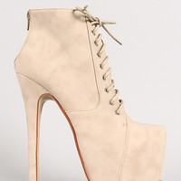 Salome-25 Leatherette Almond Toe Lace Up Stiletto Platform Bootie