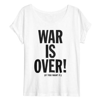 War Is Over Satin Jersey Scoop Neck T-shirt