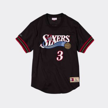 Mitchell Ness Allen Iverson Name & Number Mesh Crewneck Philadelphia 76ers
