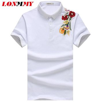 LONMMY M-5XL Floral polo shirts mens 95% cotton Lapel collar Fashion flower Polo shirt men Short sleeved Casual tops 2017 Summer