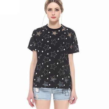 Fashion Spring Summer Short Sleeve Women T shirts Loose Black Hollow Out Star Printed O Neck Lace T-shirt