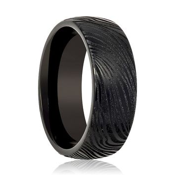 Aydins Tungsten Mens Ring Black Laser Carved Mokume Gane Effect Tungsten Carbide Wedding Band