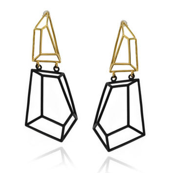 Architectural Structure Geometric Black & Gold Earrings