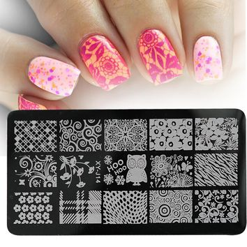 1pcs Stainless Steel Nail Stamping Plates Hot Pattern Stencils For Nails Manicure Template Beauty Stamp Polish Tools LAXYJ14