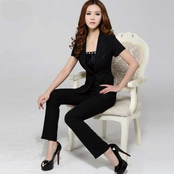 Short-sleeve blazer and pants trousers set