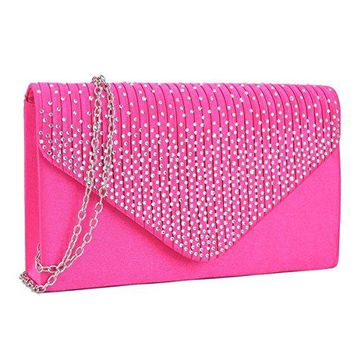 Womens Envelope Flap Clutch Handbag Evening Bag Purse Rhinestone Crystal Glitter Sequin Party