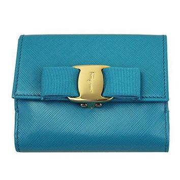 Ferragamo Vara Blue Leather Bi Fold Wallet 22a926