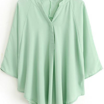 Pale Green V Neck Short Sleeve Pleated Blouse
