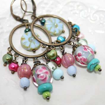 Spring Pastel Revolution Gypsy Chandelier Earrings by AngelPearls