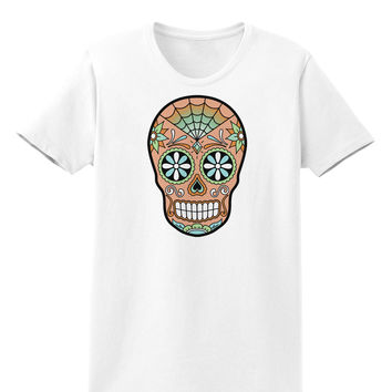 Version 6 Copper Patina Day of the Dead Calavera Womens T-Shirt