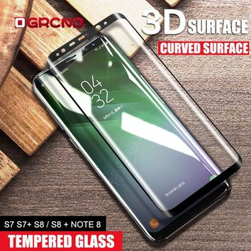 3D Full Cover Tempered Glass For Samsung Galaxy S8 S8 Plus S7 Edge Curved Glass For Samsung Note 8 s8 s7 Screen Protector Film