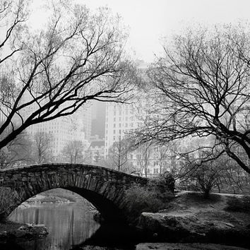 "Black and White New York Art Print, NYC Photography, Black and White Photography, Central Park Bridge, Black White Art, ""Night Fog"""